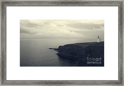 Lighthouse On The Cliff Framed Print by Edward Fielding