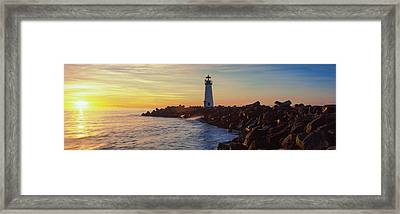 Lighthouse On The Coast At Dusk, Walton Framed Print by Panoramic Images