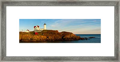 Lighthouse On The Coast, Cape Neddick Framed Print by Panoramic Images