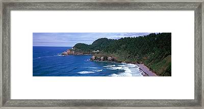 Lighthouse On The Coast, Heceta Head Framed Print by Panoramic Images