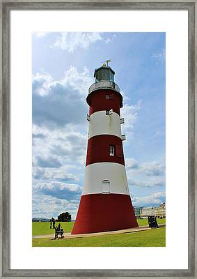 Lighthouse On The Hoe Framed Print by Theresa Selley