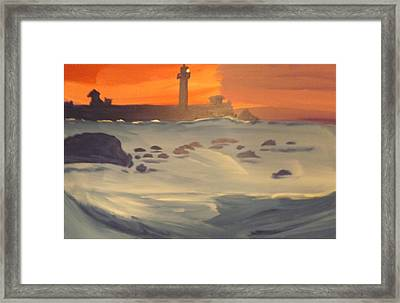 Lighthouse On The Rocks Framed Print by Don Koester