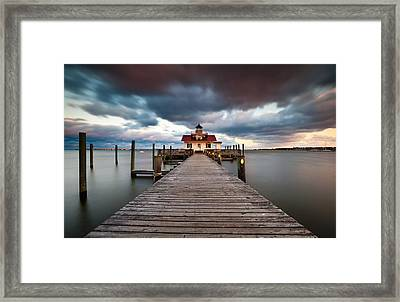 Lighthouse - Outer Banks Nc Manteo Lighthouse Roanoke Marshes Framed Print by Dave Allen