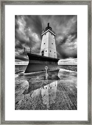 Lighthouse Reflection Black And White Framed Print by Sebastian Musial