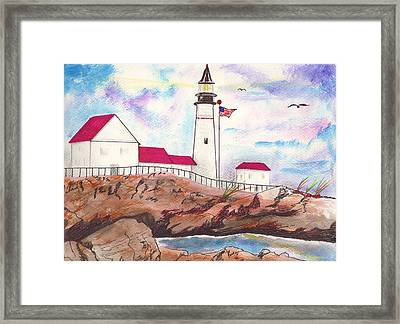 Lighthouse With Colorful Sky Framed Print by Milton Rogers