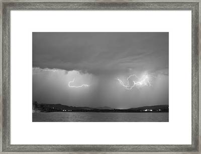 Lightning And Rain Over Rocky Mountain Foothills Bw Framed Print by James BO  Insogna