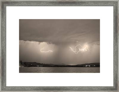 Lightning And Sepia Rain Over Rocky Mountain Foothills Framed Print by James BO  Insogna