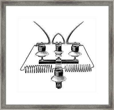 Lightning Arrester Framed Print by Science Photo Library
