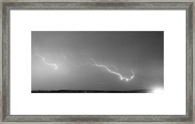 Lightning Bolts Coming In For A Landing Panorama Bw Framed Print by James BO  Insogna