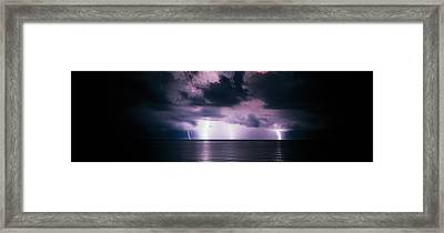 Lightning Bolts Over Gulf Coast Framed Print by Panoramic Images