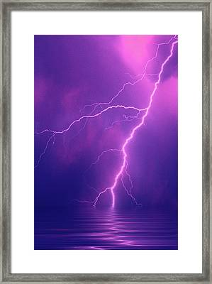 Lightning Bolts Over Water Framed Print by Jaynes Gallery