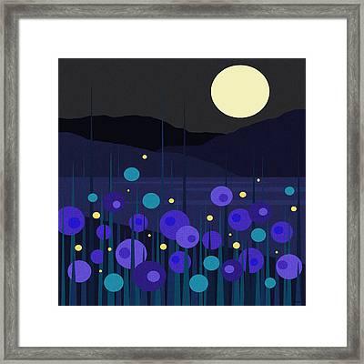 Lightning Bugs Framed Print by Val Arie