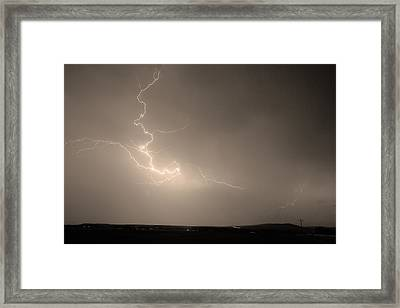 Lightning Goes Boom In The Middle Of The Night Sepia Framed Print by James BO  Insogna