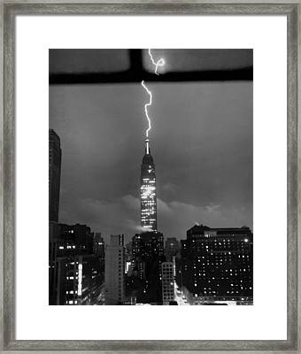 Lightning Hits Empire State Framed Print by Underwood Archives