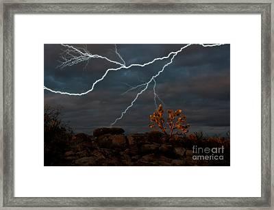 Lightning, Joshua Tree Highway Framed Print by Mark Newman
