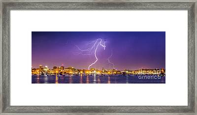 Lightning Over Downtown Portland Maine Framed Print by Benjamin Williamson