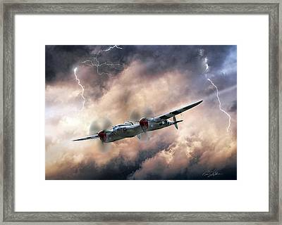 Lightning Race Framed Print by Peter Chilelli