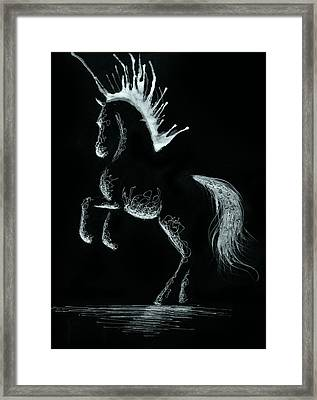 Minimal Rearing Abstract Horse Framed Print by Anila Tac