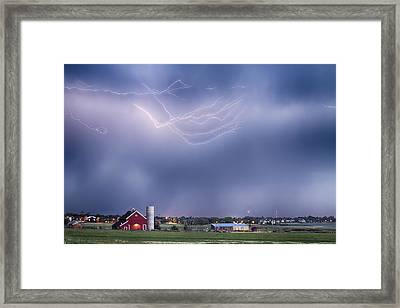 Lightning Storm And The Big Red Barn Framed Print by James BO  Insogna