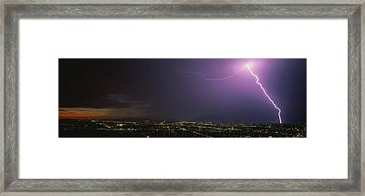 Lightning Storm At Night Framed Print by Panoramic Images
