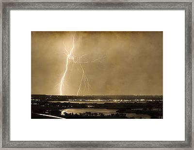 Lightning Strike Boulder Reservoir And Coot Lake Sepia 2 Framed Print by James BO  Insogna