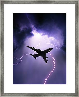 Lightning Strike On Aircraft Framed Print by David Parker