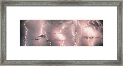 Lightning, Thunderstorm, Weather, Sky Framed Print by Panoramic Images