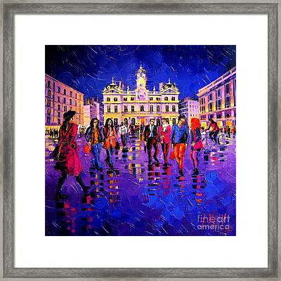 Lights And Colors In Terreaux Square Framed Print by Mona Edulesco