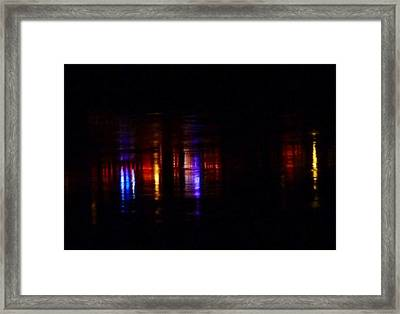 Lights On The River Reflection Framed Print by Susan Garren