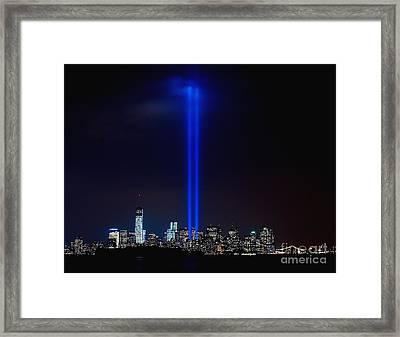 Lights Over Nyc Framed Print by Nick Zelinsky
