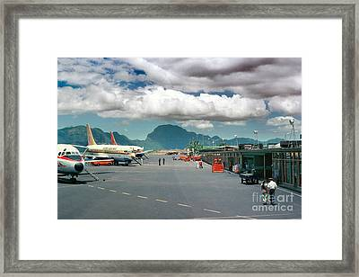 Lihue Airport With Cumulus Clouds In Kauai Hawaii  Framed Print by Wernher Krutein