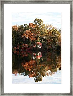 Lil Red On The Lake Framed Print by John Rizzuto
