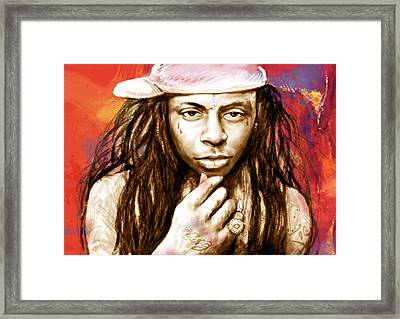 Lil Wayne - Stylised Drawing Art Poster Framed Print by Kim Wang