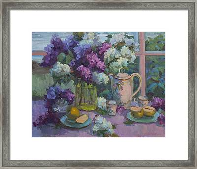 Lilacs And Tea Framed Print by Diane McClary