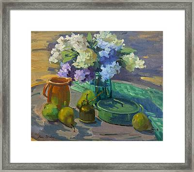 Lilacs Harmony In Green Framed Print by Diane McClary