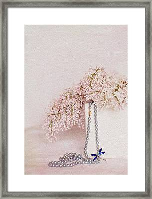 Lilacs Pearls And A Bit Of Sparkle Framed Print by Rebecca Cozart