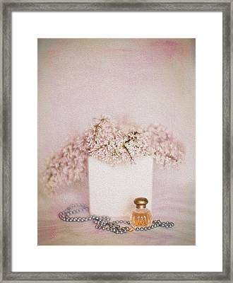 Lilacs Pearls And Perfume Framed Print by Rebecca Cozart