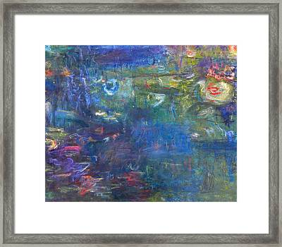 Lily And Koi Pond Framed Print by  Tolere