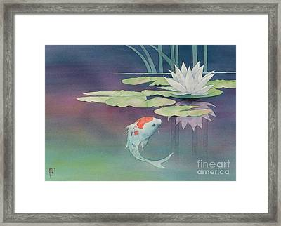 Lily And Koi Framed Print by Robert Hooper