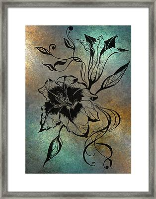 Lily Elegance. Blue Framed Print by Jenny Rainbow