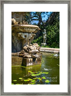 Lily Pad Fountain - Iconic Fountain At The Huntington Library. Framed Print by Jamie Pham