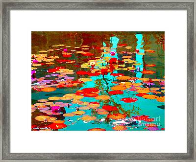 Lily Pads And Koi Colorful Water Garden In Bloom Waterlilies At The Lake Quebec Art Carole Spandau  Framed Print by Carole Spandau