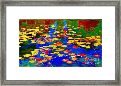 Lily Pads And Koi  Pond Waterlilies Summer Gardens Beautiful Blue Waters Quebec Art Carole Spandau  Framed Print by Carole Spandau
