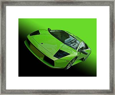 Lime Green Lamborghini Murcielago Framed Print by Samuel Sheats