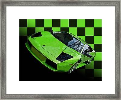 Lime Green Lamborghini Murcielago With Checkerboard Framed Print by Samuel Sheats
