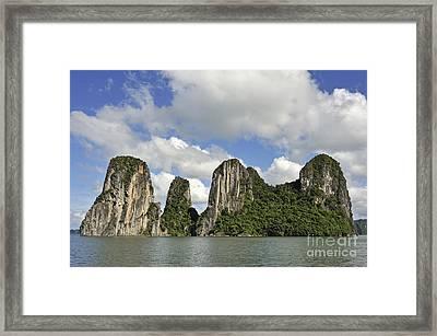 Limestone Karst Peaks Islands In Ha Long Bay Framed Print by Sami Sarkis