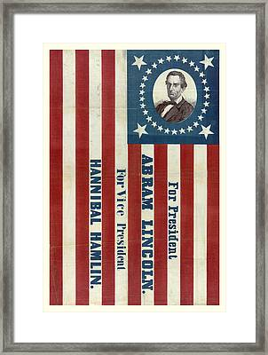 Lincoln 1860 Presidential Campaign Banner Framed Print by John Stephens