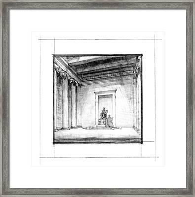 Lincoln Memorial Sketch IIi Framed Print by Gary Bodnar