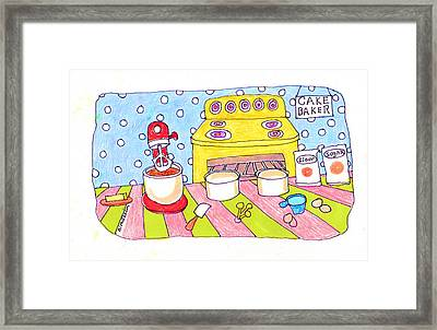 Linda Blondheim Art Toons Cake Baker Framed Print by Linda Blondheim