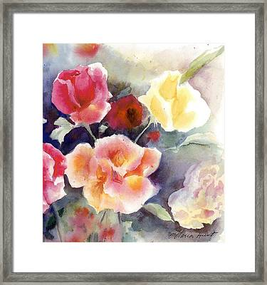 Roses In The Garden Framed Print by Maria Hunt